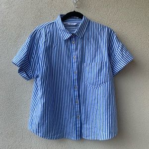Linen Striped Button Up Top (Oversized)